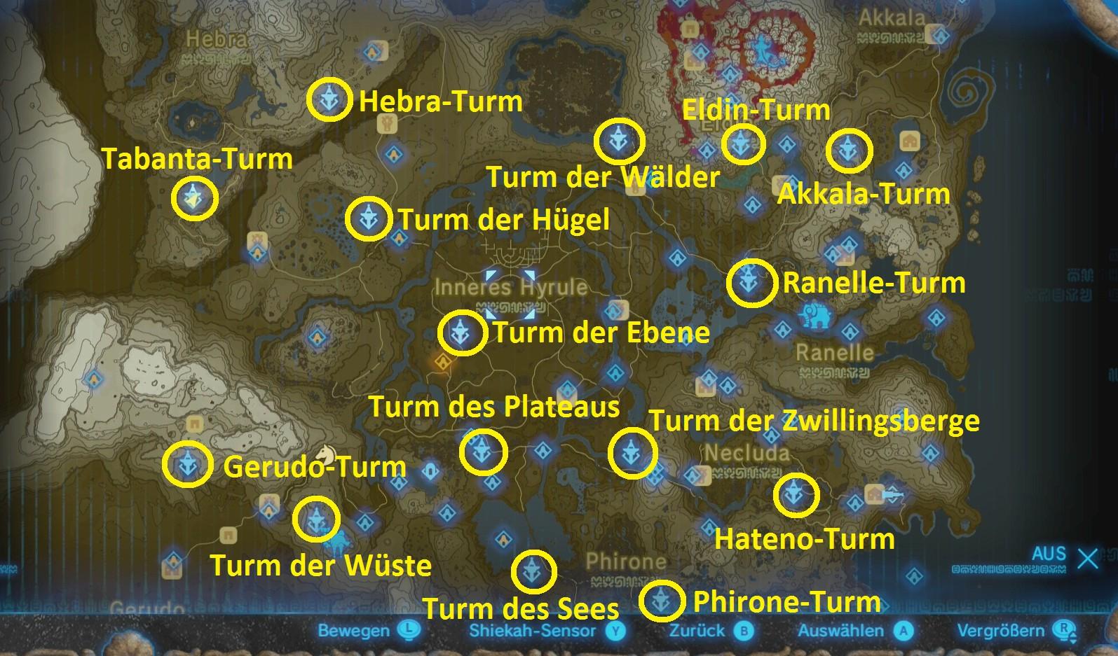 Zelda Breath Of The Wild Schrein Karte.Zelda Breath Of The Wild Standorte Aller Turme Mit Karte